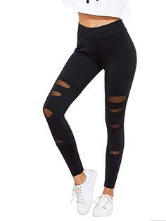 46a8d5e754e487 SweatyRocks Legging Women Grey Knit Mesh Insert Ripped Tights Yoga Slim  Pants Black L #womensclothing