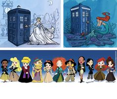 Disney does Doctor Who  I love that Belle is 11, and Rapunzel's hair is her scarf...   : )