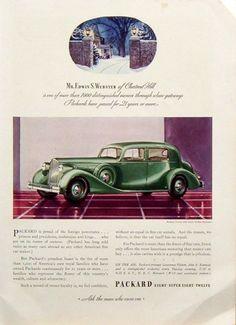 1935 PRINT AD: Packard Twelve 5-Passenger Club Sedan Emerald Green Chestnut Hill