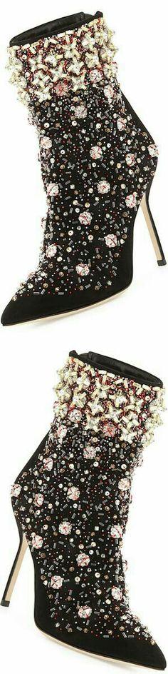 Manolis Blahnik Zarina Embroidered Suede Boots