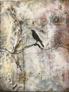 9 x 14 Linen and Encaustic Painting Original design by Vickie Edwards
