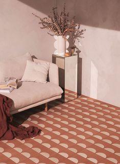 geometric tile and neutral decor styled by designer Sarah Ellison. Home Interior, Decor Interior Design, Interior And Exterior, Interior Decorating, Geometric Tiles, Home Living, Modern Living, Living Room, Tile Design