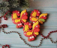Купить Пряник петушок - символ нового 2017 года. - ярко-красный, желтый, расписные пряники