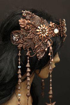 Filigree antiqued copper Elven Wedding tiara diadem crown Art