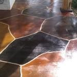 Multi-colored stain w/engraved flagstone
