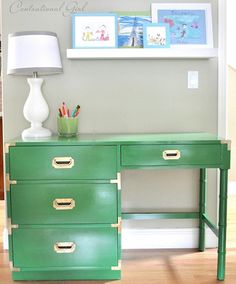 How to: turn a thrift store desk in to a beautiful colored piece!  (Also I LOVE the lamp and the offset floating shelf!!)