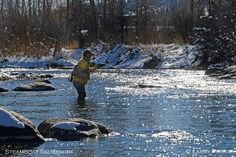 Winter fly-fishing on the Yampa River in Steamboat Springs, Colorado.