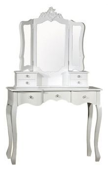 Lacquered White Antique French Dressing Table