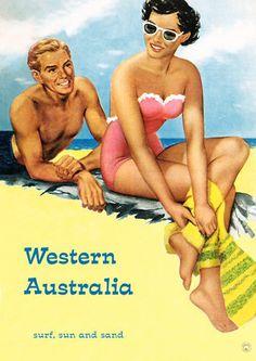 Western Australia  'Surf, Sun & Sand'  http://www.vintagevenus.com.au/products/vintage_poster_print-tv840