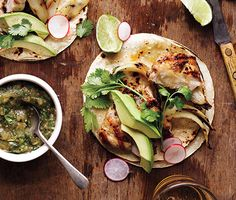 Grilled Chicken Tacos http://www.epicurious.com/recipes/food/views/Grilled-Chicken-Tacos-51175340