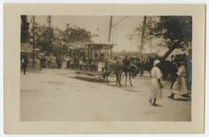 """""""People wagon pulled by donkeys in a park."""" (Costa Rica). http://ufdc.ufl.edu/CA90003250/00001. University of Miami Libraries. Courtesy: © University of Florida George A. Smathers Libraries, Gainesville, FL (USA)."""