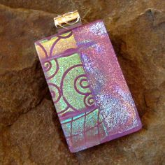 Pink Fused Glass Pendant Dichroic Jewelry Dichroic by GlassCat, $24.50