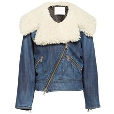 Women's Adam Lippes Stretch Denim Moto Jacket With Removable Genuine... ($1,950) ❤ liked on Polyvore featuring outerwear, jackets, blue jackets, rider jacket, blue motorcycle jacket, blue moto jacket and fur collar biker jacket