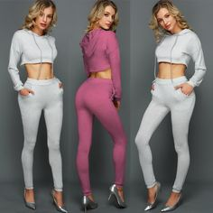 Women Cropped Hooded Casual Twinset