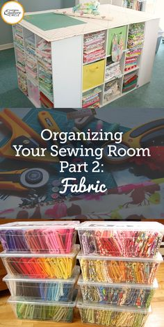 "Sewing Room Organization: Fabric - Have you ever looked around your sewing area and thought, ""There has to be a better way! Sewing Room Design, Sewing Room Storage, Sewing Room Decor, Craft Room Design, Sewing Room Organization, My Sewing Room, Craft Room Storage, Fabric Storage, Sewing Rooms"