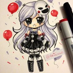 Chibi of a female-humanised Puppet from Five Nights at Freddy's! =] just had the urge to do more fnaf fanart, since i'm in a bit of an art block atm ; Nanbaka Anime, Anime Chibi, Five Nights At Freddy's, Kawaii Art, Kawaii Anime, Marionette Fnaf, Creation Art, Fnaf Sister Location, Fnaf Drawings