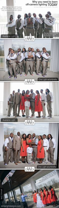 Off Camera Lighting vs Available or Ambient Light Comparison | Bridesmaids and groomsmen get lit.  Haha. Huge Parabolic Umbrella and Alien Bee Light for Group Portrait Wedding Photography in Nashville TN