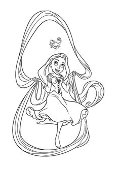 Coloring the picture of Disney Princess Tangled Rapunzel Coloring