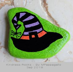 An Eclectic Collection of Goods and Apparel by SaltwaterMercantile Witch Painting, Halloween Painting, Halloween Drawings, Pebble Painting, Pebble Art, Stone Painting, Painted Garden Rocks, Painted Rocks Craft, Hand Painted Rocks