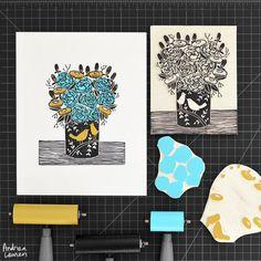 Floral Vase - Original Block Print by Andrea Lauren