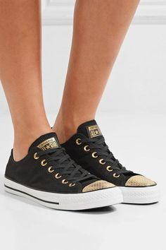 Converse | Chuck Taylor All Star metallic snake-effect leather-trimmed canvas sneakers | NET-A-PORTER.COM