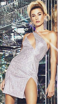 d0d46a5bd9  Ad Campaign  Hailey Baldwin Sparkles in Pretty Little Thing Silver Dresses   18.