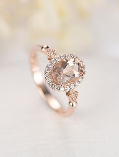 Oval Morganite engagement ring rose gold engagement ring Vintage Halo diamond wedding ring Antique Bridal set Jewelry Promise Gift for women Oval Morganite engagement ring rose gold engagement ring Morganite Engagement, Rose Gold Engagement Ring, Diamond Wedding Rings, Halo Diamond, Antique Wedding Rings, Antique Engagement Rings, Antique Rings, Bridal Jewelry Sets, Vintage Bridal