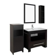 Masselin 40 in. Single Basin Vanity in Espresso with Porcelain Basin Countertop in White and Mirror-ES-2440-ES at The Home Depot