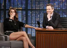 TV appearance: The former Felicity star headed to NBC's Late Night With Seth Myers where her long legs were front and center as she did an interview with the comedian and late night host