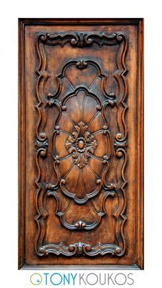 Italy, door, wood, reliefs, carved, stained, antiqued, design, panel