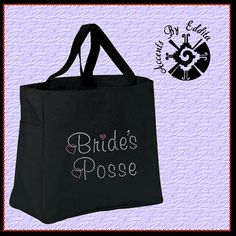 Girly Brides Posse Rhinestone Tote Bag (your choice of colors) with Pink Dangling Heart Great for Bridesmaids