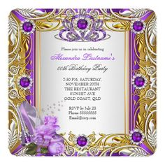 Elegant Purple Birthday Party Gold Rose High Heels Personalized Invitation Cards