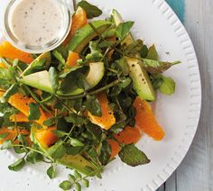 Spring Watercress Salad with Cashew Mustard Dressing - Annabel Langbein Citrus Recipes, Spring Recipes, Vegetable Recipes, Salad Recipes, Vegetarian Recipes, Cooking Recipes, Easy Recipes, Healthy Low Calorie Meals, Low Calorie Recipes
