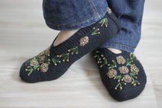Women Socks Slippers Hand knitted slippers in black by SENNURSASA, $25.00