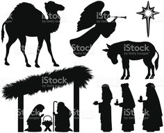 Nativity silhouettes royalty free stockvectorbeelden