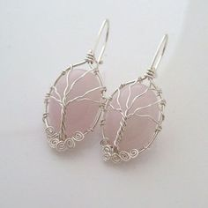 Wire Wrapped Tree Stone Earrings