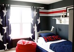 Bedroom. Joyful Boy Toddler Room Design Ideas. Magnificent Toddler Boy Bedroom Ideas With Black White Star Curtains And White Bed Plus Red Seating Together With Grey Walls. Boy Toddler Room Ideas