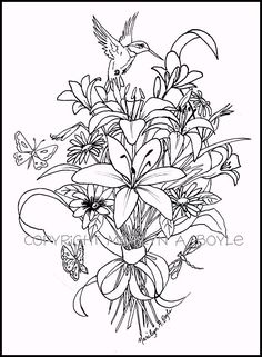 ADULT COLORING PAGE Bouquet Of Flowers Hummingbird Butterflies Dragonflies By OriginalSandMore On