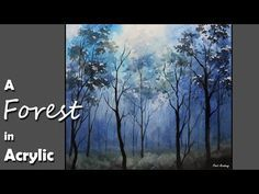 Starry Night in the Forest Step by Step Acrylic Painting on Canvas for Beginners - YouTube