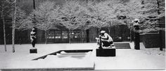 Our family Christmas card shows the MoMA sculpture garden in winter, 1958.