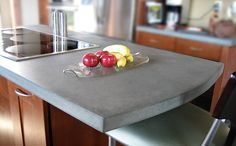 Custom Concrete Countertop Portfolio - Trueform - The DIY concrete countertops sound like it could be a weekend project! The natural concrete looks great up next to the #LGBlackStainlessSteel appliances! #LGLimitlessDesign #contest