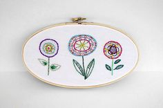 Oval Embroidery Hoop with Three Colorful by sometimesiswirl on etsy