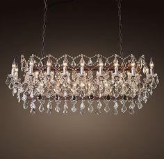 "19th C. Rococo Iron & Clear Crystal Rectangular Chandelier 63"""