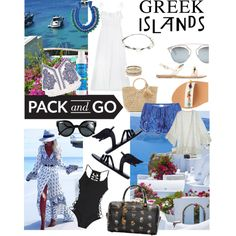 Greek Islands by paolacaligirl on Polyvore featuring moda, Three Graces, River Island, Calypso St. Barth, Lé Salty Label, ále by Alessandra, Miguelina, Ancient Greek Sandals, Yves Saint Laurent and Hat Attack