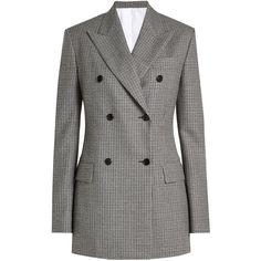 CALVIN KLEIN 205W39NYC Printed Virgin Wool Blazer (£1,190) ❤ liked on Polyvore featuring outerwear, jackets, blazers, grey, gray blazer, houndstooth blazer, grey blazer jacket, grey blazer and blazer jacket