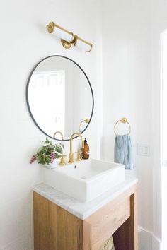 Small powder bathroom styling, coastal cool, refreshing bathroom design | Studio McGee Blog