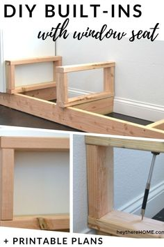 DIY built-in bookshelves with a bench seat tutorial + printable step-by-step instructions with measurements worksheet. @heytherehome.com Measurement Worksheets, Bench Seat, Building Plans, Home Improvement Projects, Built Ins, Step By Step Instructions, Bookshelves, Entryway Tables, Family Room