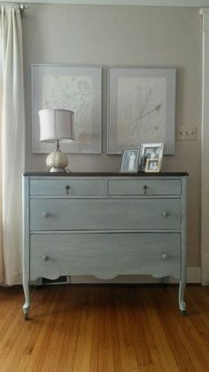 She did a custom mix duck egg and Paris grey and an old white wash. Painting Wood White, Distressed Furniture Painting, Recycled Furniture, Paint Furniture, Furniture Ideas, Redoing Furniture, Vintage Furniture, Knotty Pine Decor, White Wash Fireplace