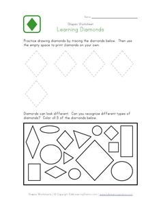 all about diamond shapes in color shapes worksheets shape worksheets for preschool shapes. Black Bedroom Furniture Sets. Home Design Ideas