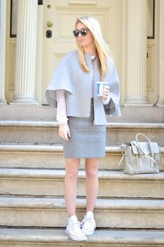 Grey Cape, grey skirt and white mesh sweater